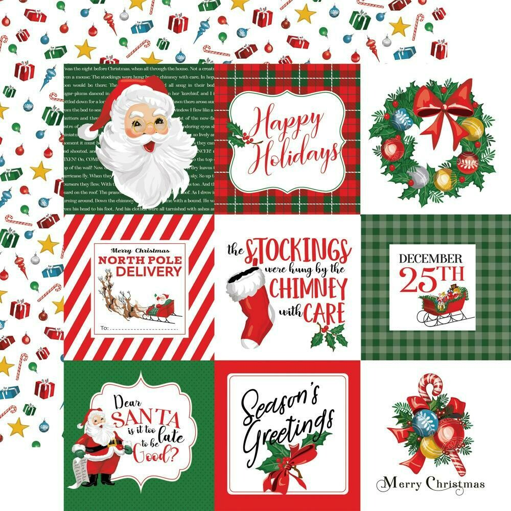 """Dear Santa Double-Sided Cardstock 12""""X12"""" - 4""""x4"""" Journaling Cards"""