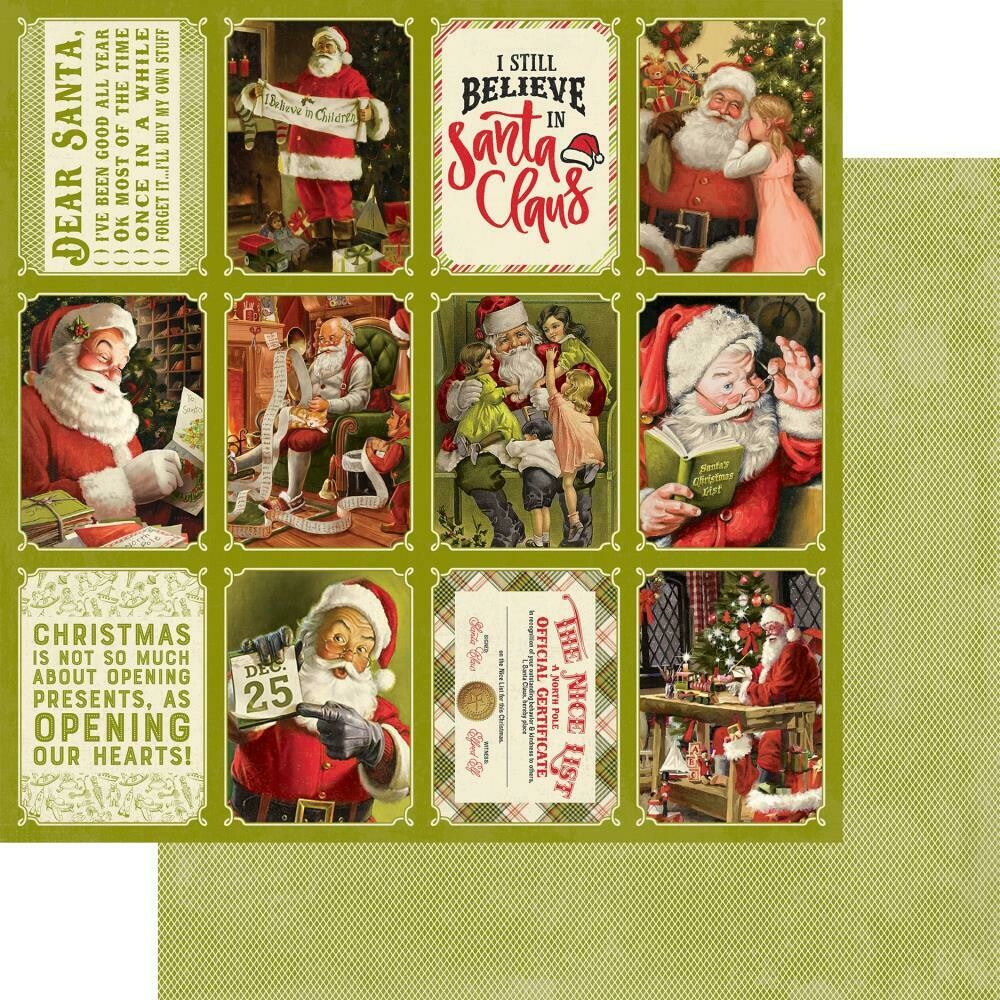 "A Magical Christmas Double-Sided Cardstock 12""X12"" - Vintage Santa 3""x4"" Cut Aparts"