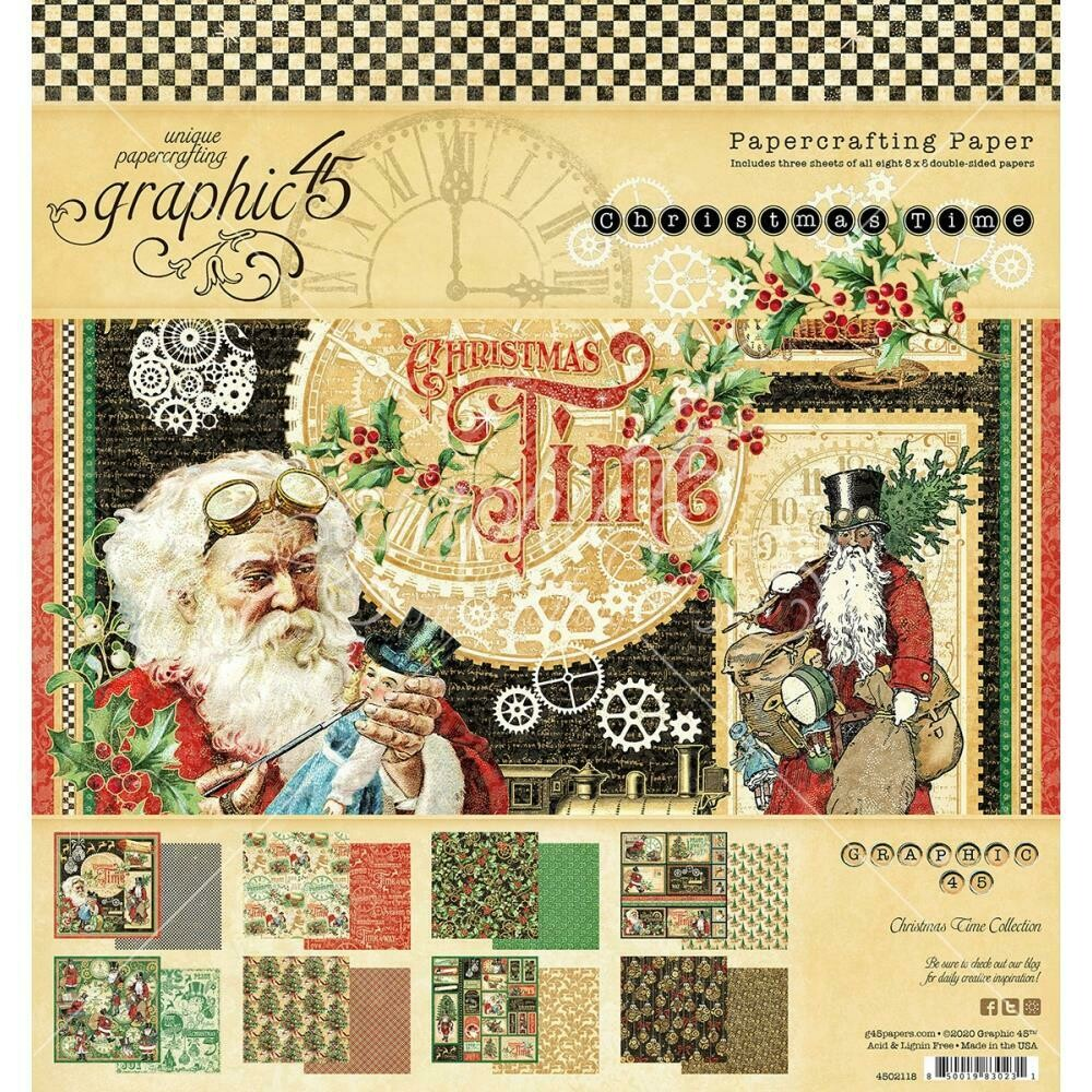"""Graphic 45 Double-Sided Paper Pad 8""""X8"""" 24/Pkg - Christmas Time"""