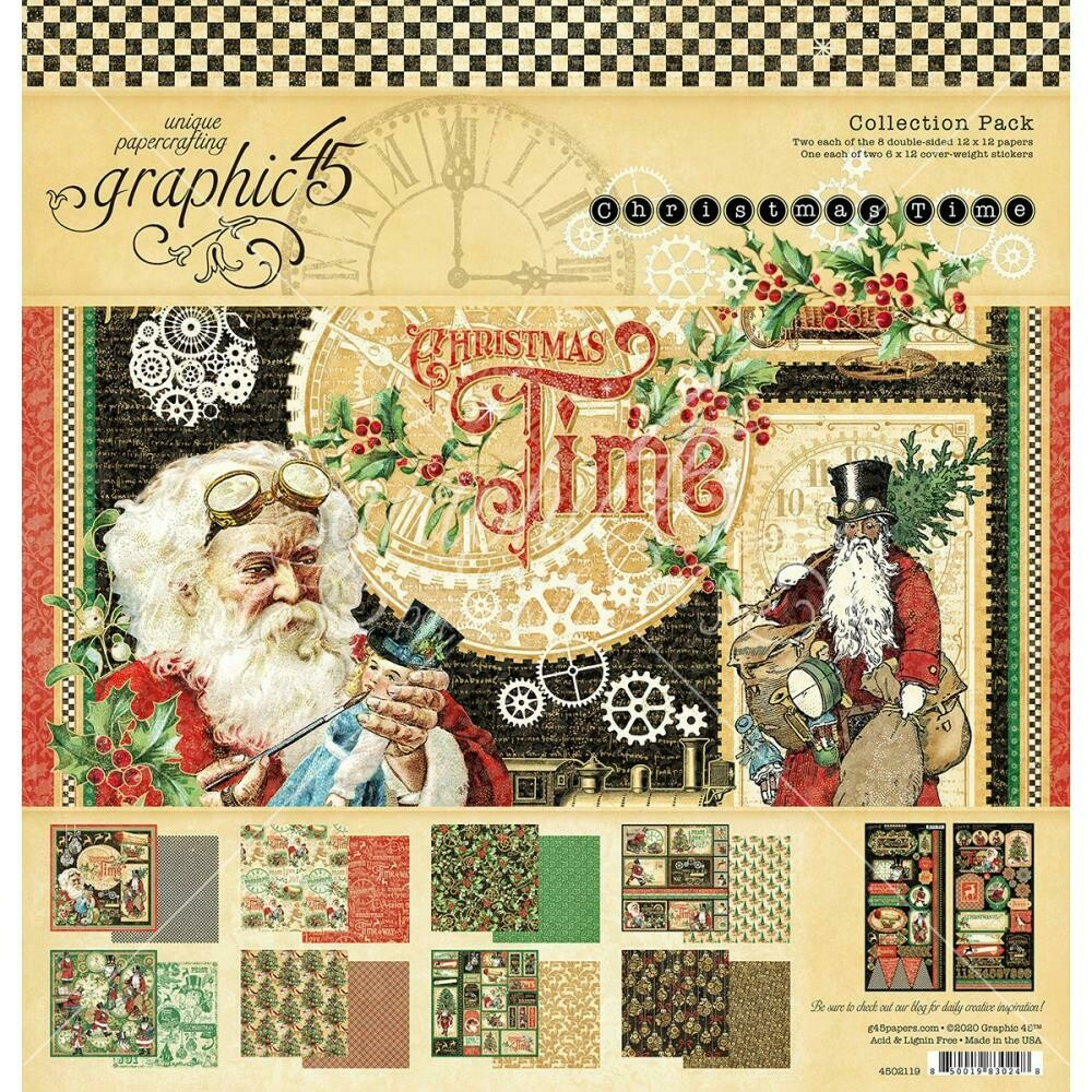 """Graphic 45 Collection Pack 12""""X12"""" - Christmas Time"""