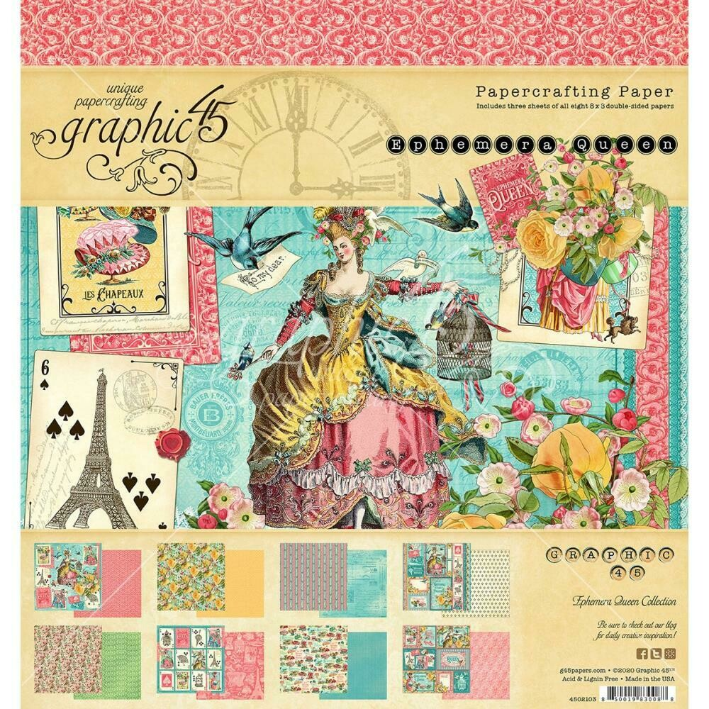 "Graphic 45 Double-Sided Paper Pad 8""X8"" 24/Pkg - Ephemera Queen"