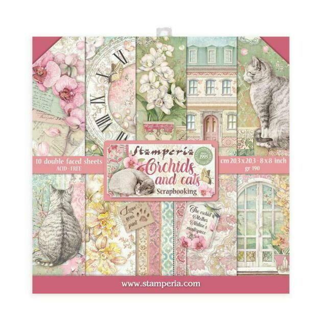 """Orchids & Cats - Stamperia Double-sided Paper Pad 8""""x8"""""""