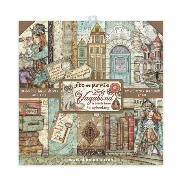 "Lady Vagabond - Stamperia Double-sided Paper Pad 8""x8"""
