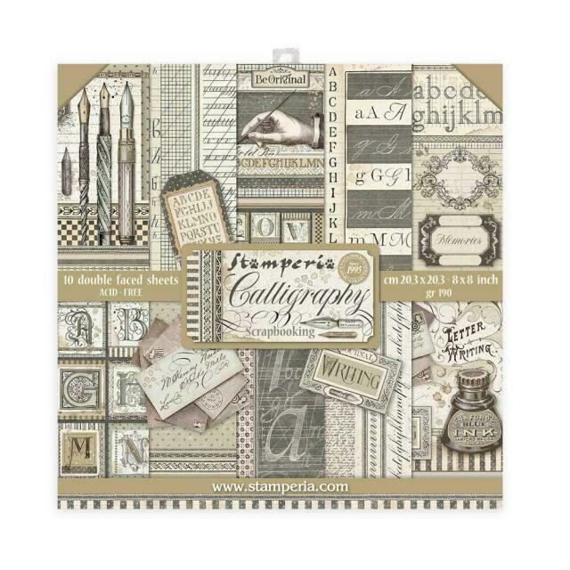 """Calligraphy - Stamperia Double-sided Paper Pad 8""""x8"""""""