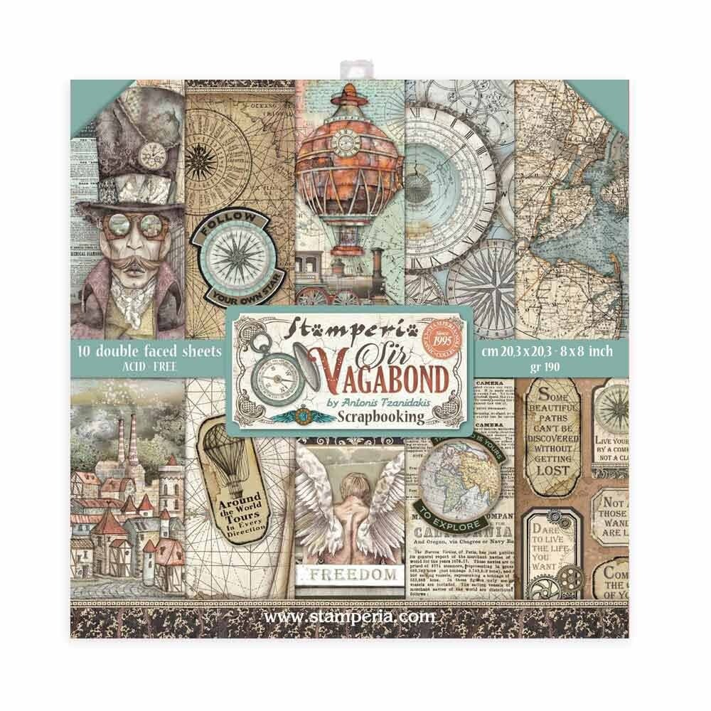 """Sir Vagabond - Stamperia Double-sided Paper Pad 8""""x8"""""""