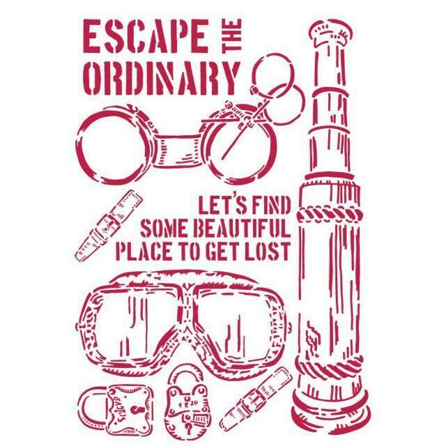 Stamperia Lady Vagabond Escape the Ordinary - Stencil 21x29.7cm