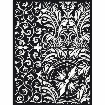 Stamperia Sir Vagabond Wallpaper & Compass - Stencil 15x20cm