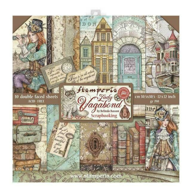 "Lady Vagabond - Stamperia Double-sided Paper Pad 12""x12"""