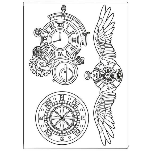Stamperia Sir Vagabond Clocks & Wings - A5 Silicone Mould