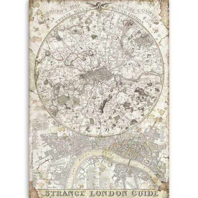 Stamperia A4 Rice Paper Sheet - Lady Vagabond Strange London Guide