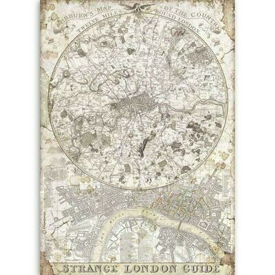 Stamperia A4 Rice Paper Sheet - Lady Vagabond Strange London Guide