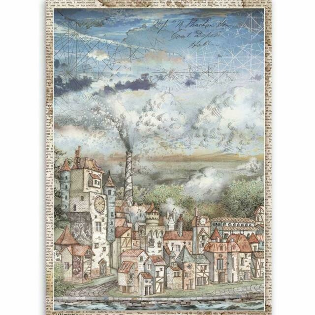 Stamperia A4 Rice Paper Sheet - Sir Vagabond Cityscape