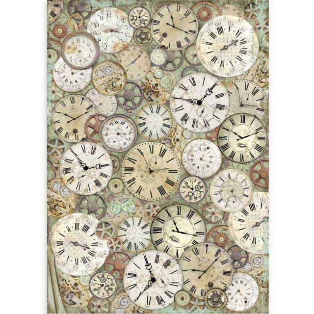 Stamperia A3 Rice Paper Sheet - Lady Vagabond Clock & Mechanisms