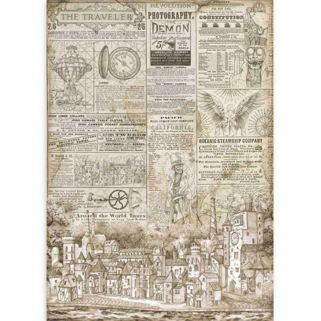 Stamperia A3 Rice Paper Sheet - Sir Vagabond The Traveler