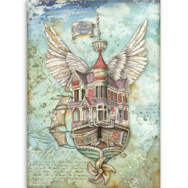 Stamperia A4 Rice Paper Sheet - Lady Vagabond Flying Ship