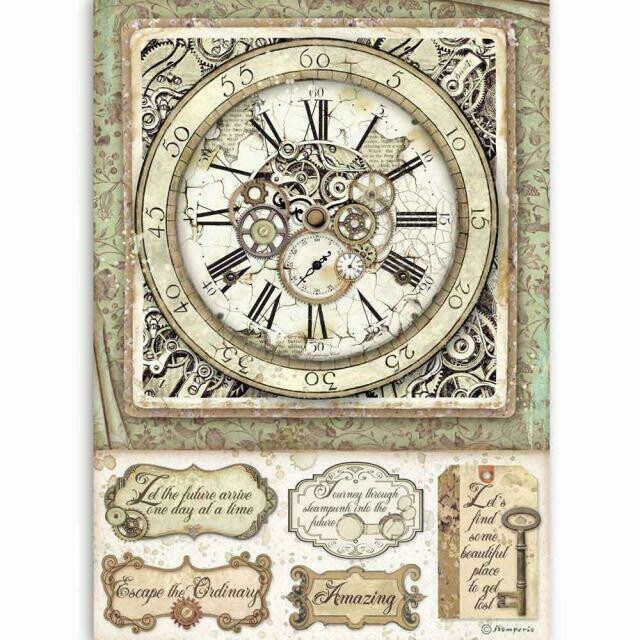 Stamperia A4 Rice Paper Sheet - Lady Vagabond Clock with Mechanisms