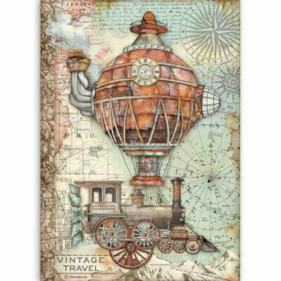 Stamperia A4 Rice Paper Sheet - Sir Vagabond Vintage Travel