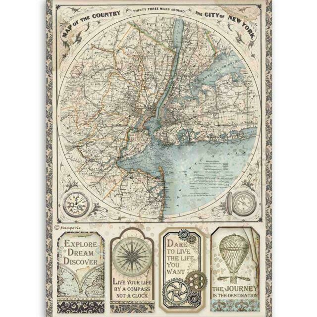 Stamperia A4 Rice Paper Sheet - Sir Vagabond Map of New York City