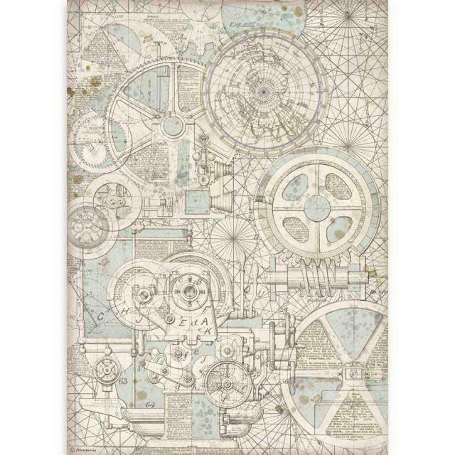 Stamperia A3 Rice Paper Sheet - Sir Vagabond Train Mechanism