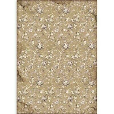 Stamperia A3 Rice Paper Sheet - Lady Vagabond White Flowers