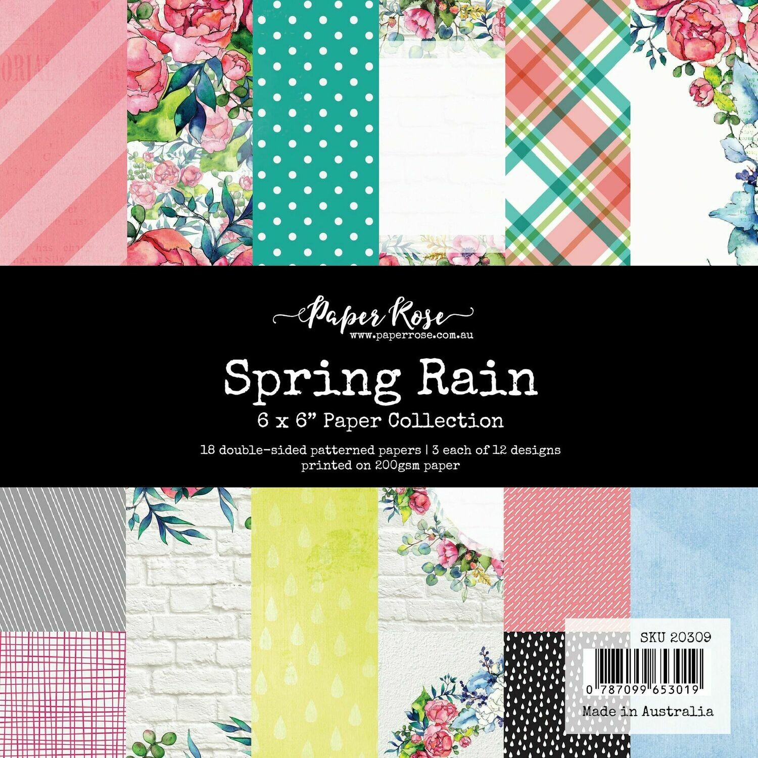 "Paper Rose - Spring Rain -  6"" x 6"" Paper Collection"