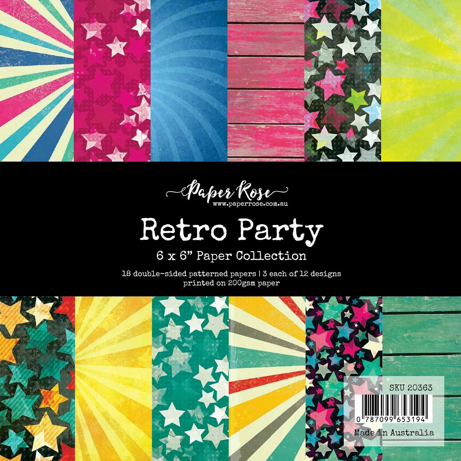 "Paper Rose - Retro Party -  6"" x 6"" Paper Collection"