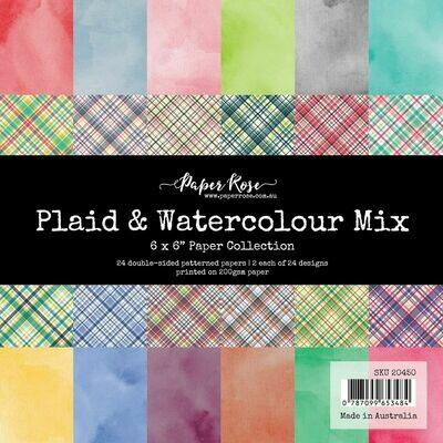 Paper Rose - Plaid & Watercolour Mix -  6