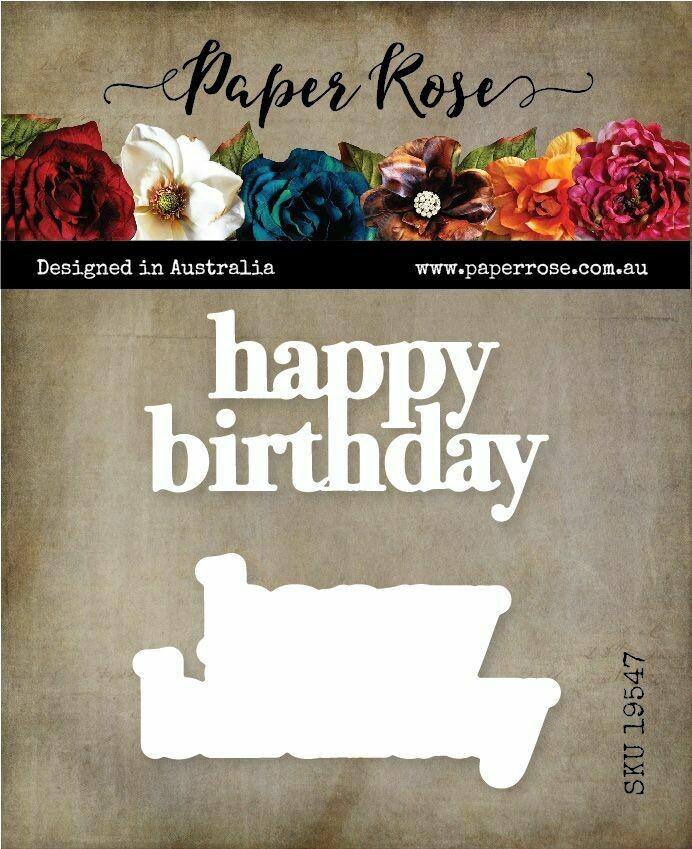 Paper Rose Metal Die - Happy Birthday Layered