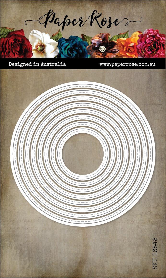 Paper Rose Metal Die- Stitched Circles