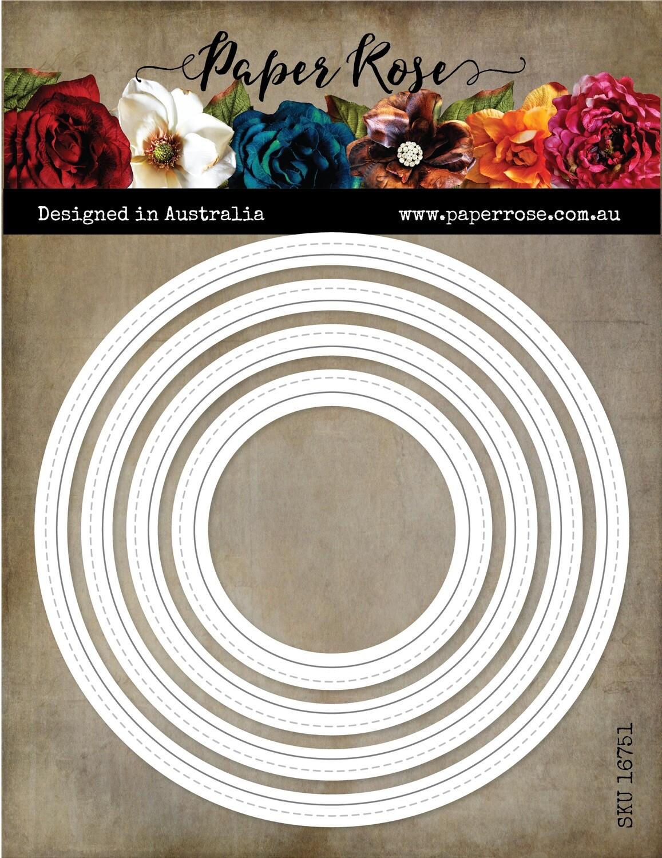 Paper Rose Metal Die- Nesting Stitched Peekaboo Circles