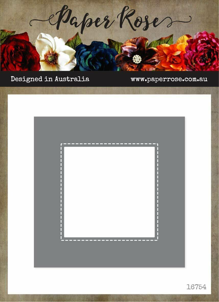 Paper Rose Metal Die- Nesting Stitched Peekaboo Squares
