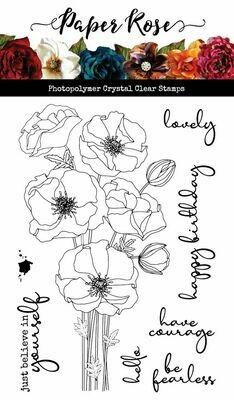Paper Rose Stamp Set - Modern Poppies