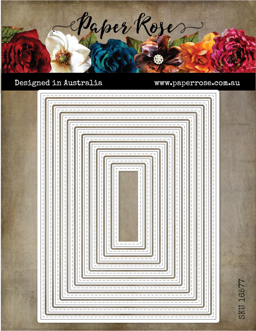 Paper Rose Metal Die- Stitched Rectangles