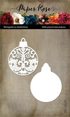 Paper Rose Metal Die- Ornate Christmas Bauble Ornament Small
