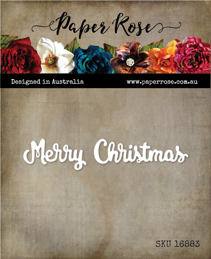Paper Rose Metal Die- Merry Christmas Small