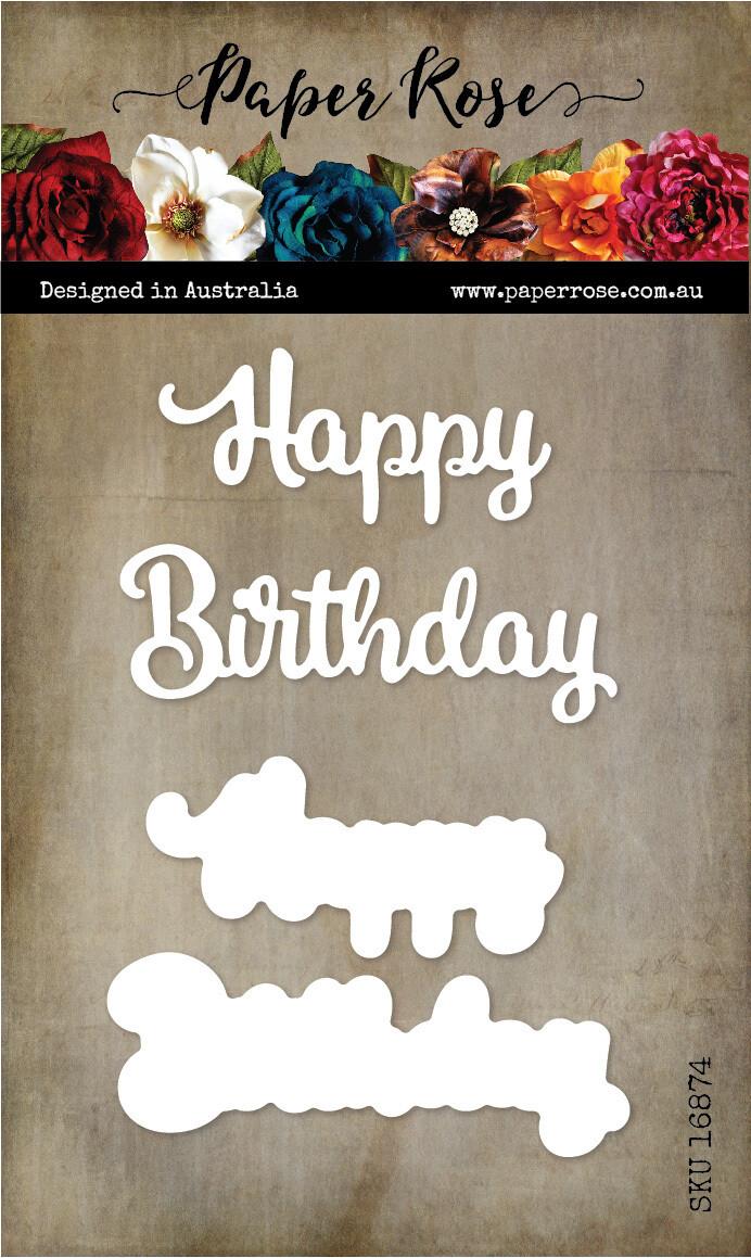 Paper Rose Metal Die- Happy Birthday Large Layered