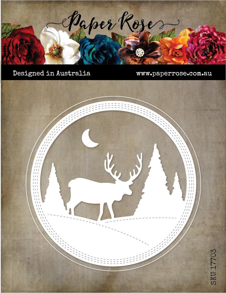 Paper Rose Metal Cutting Die - Reindeer Scene Frame