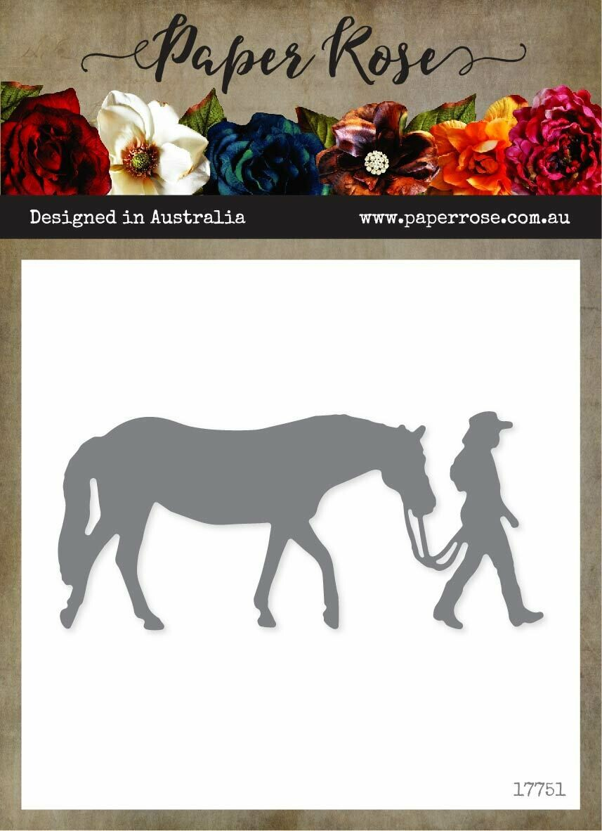 Paper Rose Metal Cutting Die - Girl with Horse (Large)