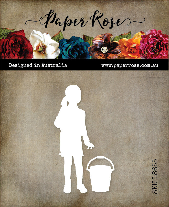Paper Rose Metal Cutting Die - Girl with Bucket Silhouette
