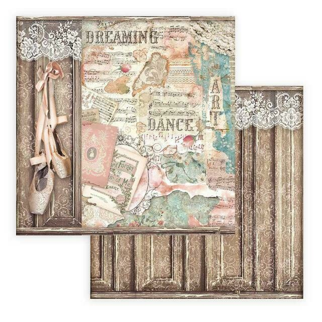 "Passion - Ballet Shoes - Stamperia Double-sided Cardstock - 12"" x 12"""