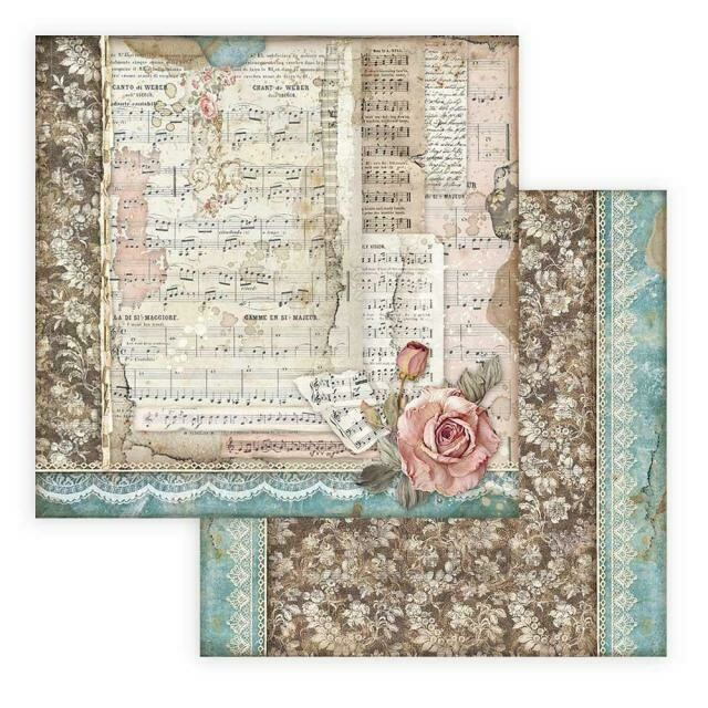 """Passion - Roses and Music - Stamperia Double-sided Cardstock 12""""x12"""""""
