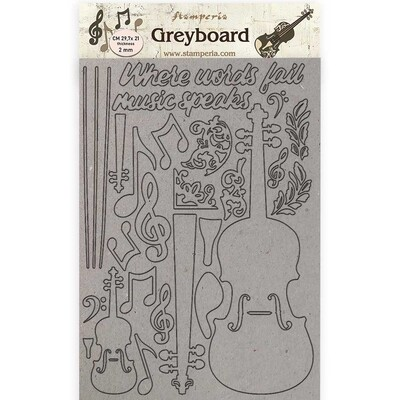 Stamperia Passion Violin - Greyboard Cut Outs