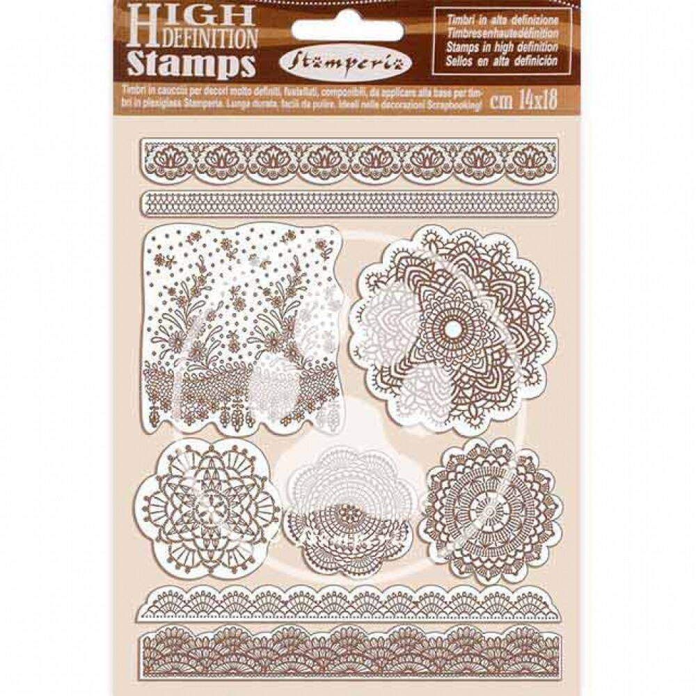 Stamperia HD Natural Rubber Stamp 14x18 cm - Passion Collection - Lace
