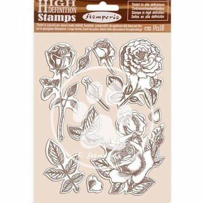 Stamperia HD Natural Rubber Stamp 14x18 cm - Passion Collection - Rose