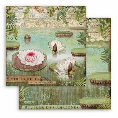 Amazonia - Water Lily - Stamperia Double-sided Cardstock 12