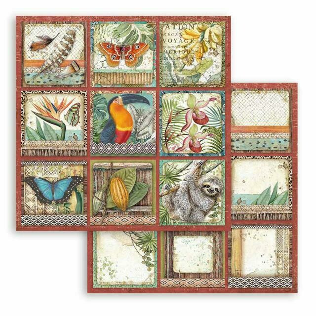 """Amazonia - Square Tags - Stamperia Double-sided Cardstock 12""""x12"""""""