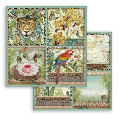 Amazonia - Square Tags - Stamperia Double-sided Cardstock 12