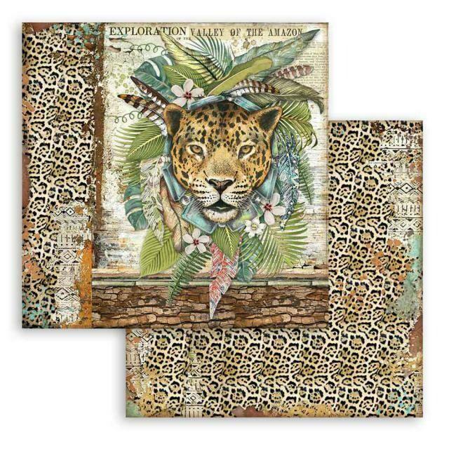 "Amazonia - Jaguar - Stamperia Double-sided Cardstock 12""x12"""