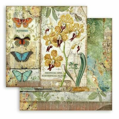 Amazonia - Orchid and Butterfly - Stamperia Double-sided Cardstock