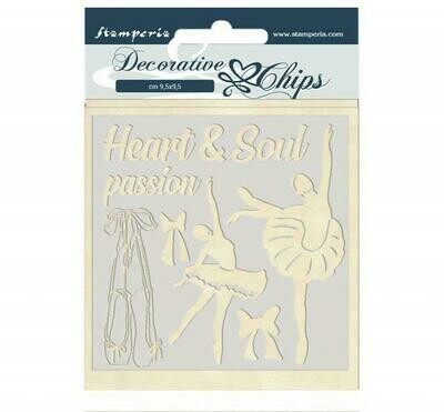 Stamperia Decorative Chips 14x14 cm - Passion Collection - Dancer